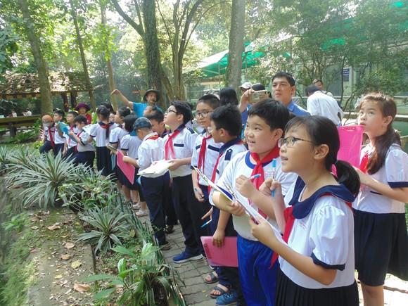 Học sinh Trường Tiểu học Nguyễn Bỉnh Khiêm (quận 1) hào hứng tham gia tIết học ngoài nhà trường