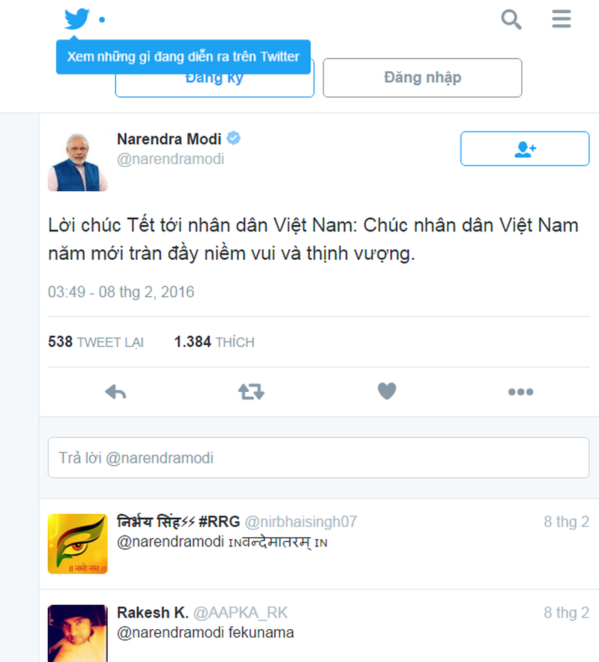 Indian Prime Minister sends greeting to Vietnamese in Lunar New Year ...