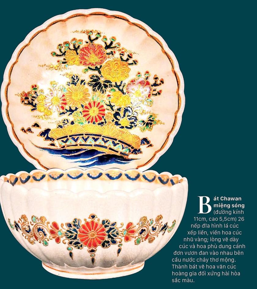Cúc Ngự Văn trên dòng gốm Gosu Blue - Imperial satsuma ảnh 1