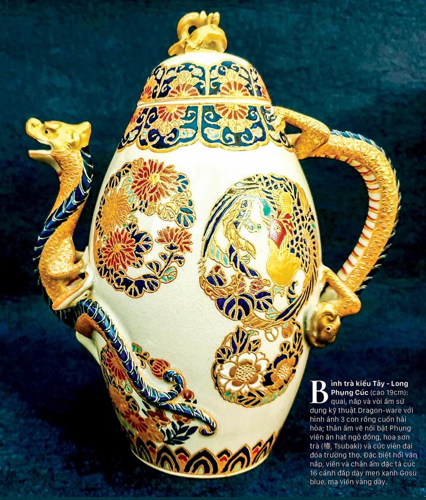 Cúc Ngự Văn trên dòng gốm Gosu Blue - Imperial satsuma ảnh 2