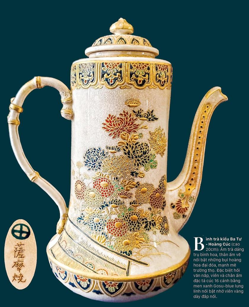 Cúc Ngự Văn trên dòng gốm Gosu Blue - Imperial satsuma ảnh 3