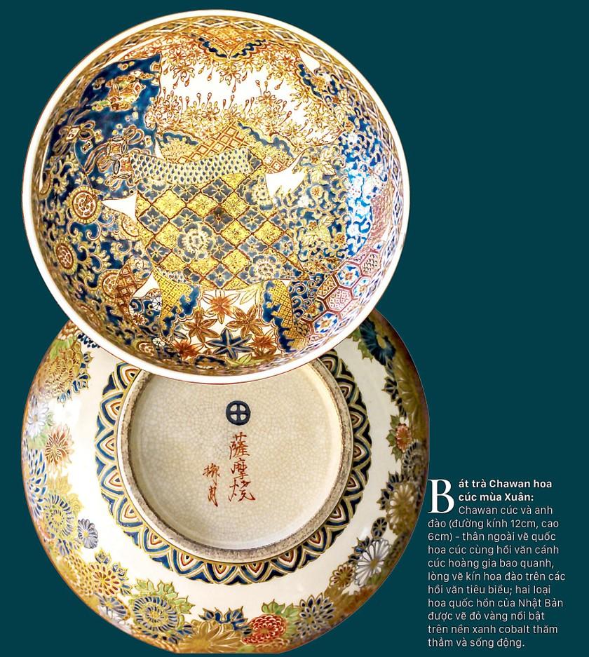Cúc Ngự Văn trên dòng gốm Gosu Blue - Imperial satsuma ảnh 5