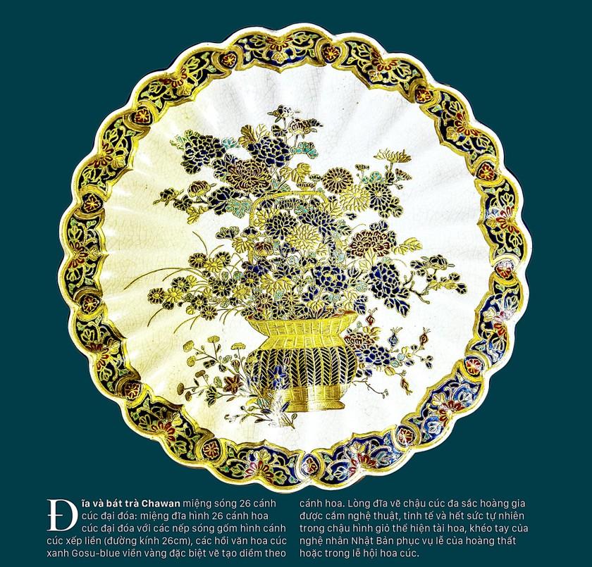Cúc Ngự Văn trên dòng gốm Gosu Blue - Imperial satsuma ảnh 6