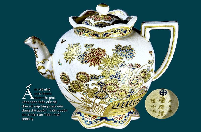 Cúc Ngự Văn trên dòng gốm Gosu Blue - Imperial satsuma ảnh 7