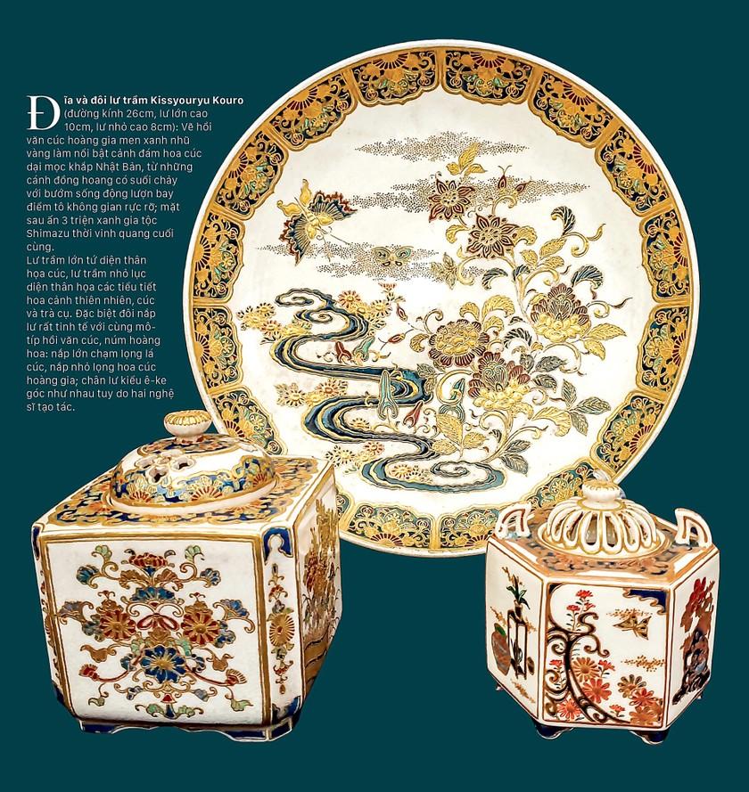 Cúc Ngự Văn trên dòng gốm Gosu Blue - Imperial satsuma ảnh 9