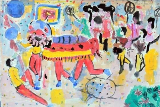 Bé 10 tuổi triển lãm tranh cá nhân tại Bảo tàng Mỹ thuật Việt Nam ảnh 3