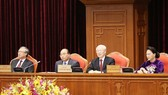 Party General Secretary and State President Nguyen Phu Trong (second, right) addresses the opening session of the 12th Party Central Committee's 10th meeting in Hanoi on May 16 (Photo: VNA)