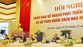 General Secretary of the Communist Party of Vietnam Central Committee Nguyen Phu Trong, President Tran Dai Quang and National Assembly Chairwoman Nguyen Thi Kim Nga attend the Government meeting with localities (Photo: VNA)